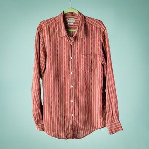 Lucky Brand L Red Linen Stripe Button Down Shirt